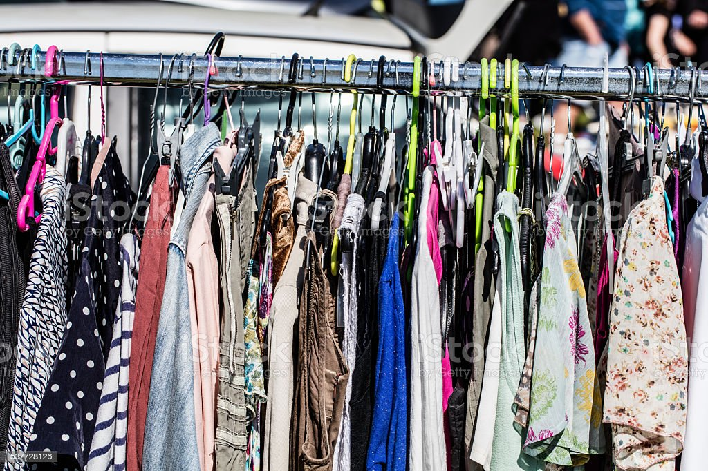 Cheap Second Hand Fashion Womens Clothes At Garage Sale Royalty Free Stock Photo
