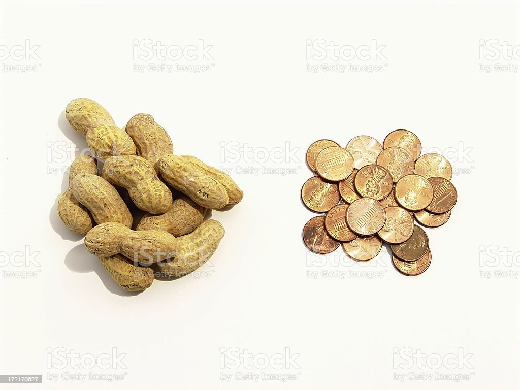 Cheap Stuff - Peanuts and pennies royalty-free stock photo