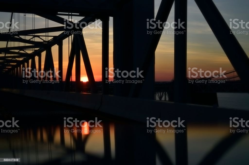 Cheasapeake Bay Bridge Sundown Two stock photo