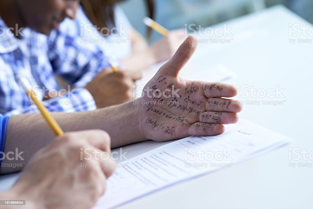 Cheating on a test stock photo