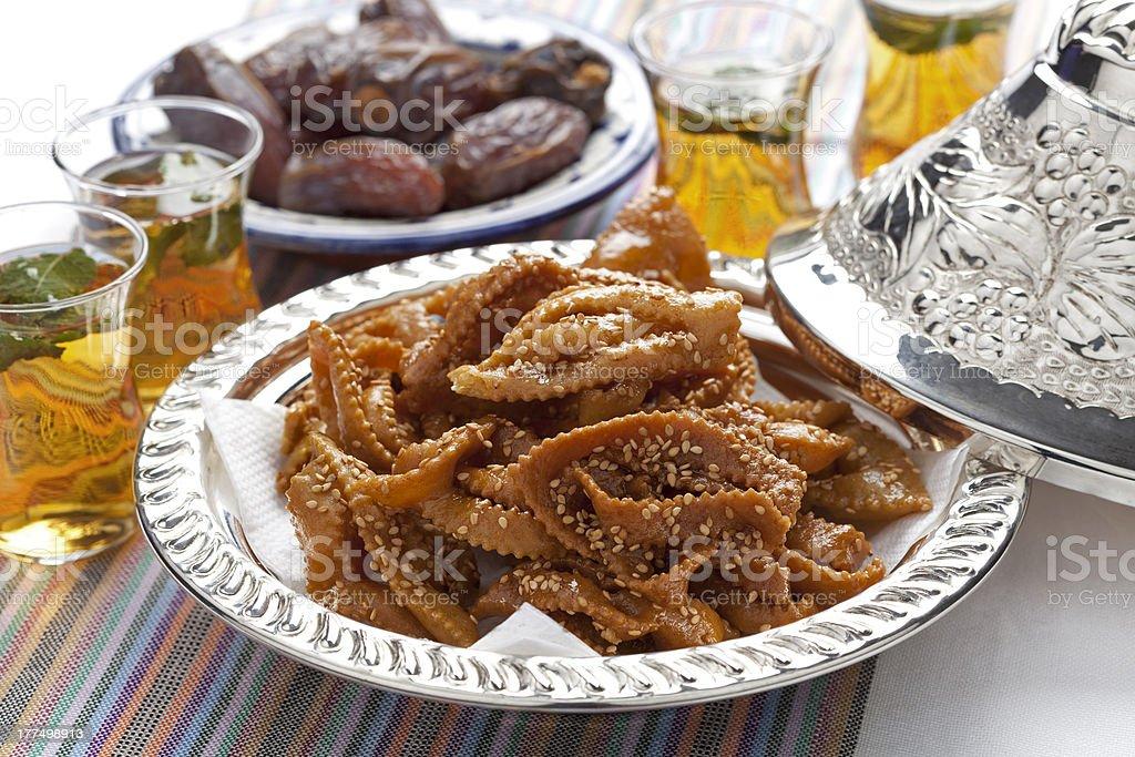 Chebakia honey cookies and dates royalty-free stock photo