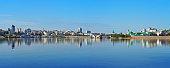 Cheboksary, Chuvashia, Russia - June, 2016: Cheboksary panoramic view. View of the Moscow and Kazan embankments, Cheboksary Bay, River port city, the historical center, residential neighborhoods.