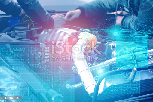 1150202730 istock photo check and diagnostics of the engine and electrics of the car at the service center with the display of augmented reality 1151572007