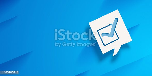 Cut out icon in a speech bubble on blue background. High resolution image with copy space ready for your crop needs.