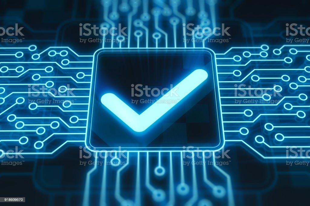 Check box on digital display stock photo