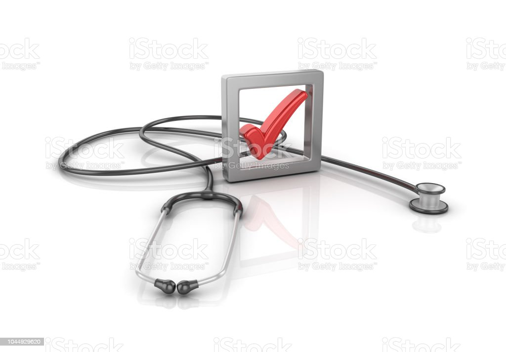 3D Check Box with Stethoscope - 3D Rendering stock photo