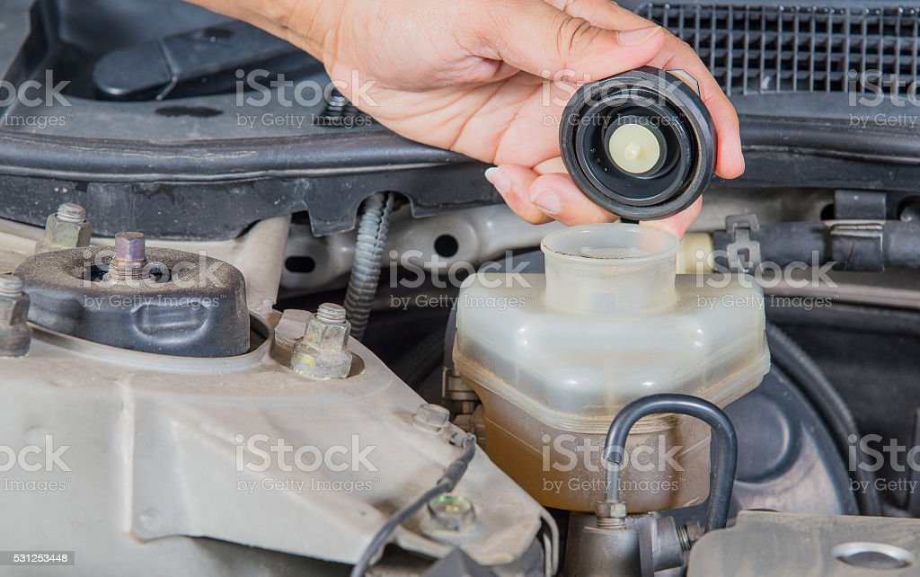 Check brake fluid inlet,Car maintenance,Check  car yourself,Chec stock photo