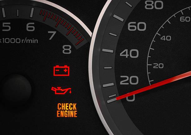 Check engine warning light. stock photo