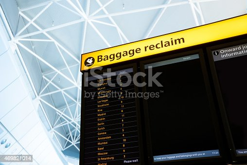 469824732istockphoto Check in, Airport Departure & Arrival information board sign 469821014
