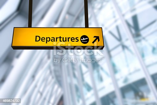 469824732istockphoto Check in, Airport Departure & Arrival information board sign 469824732