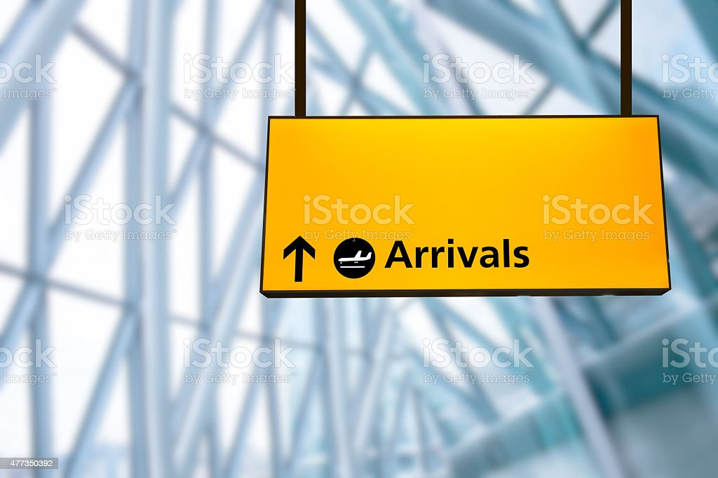 Check in, Airport Departure & Arrival information board sign stock photo