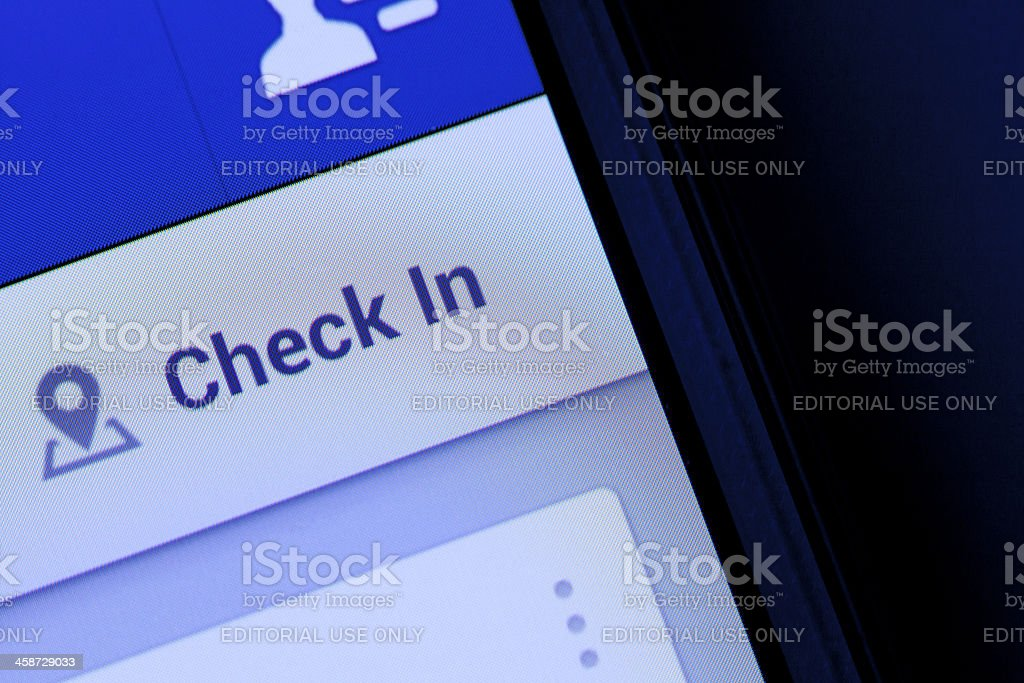 Check in button for facebook stock photo