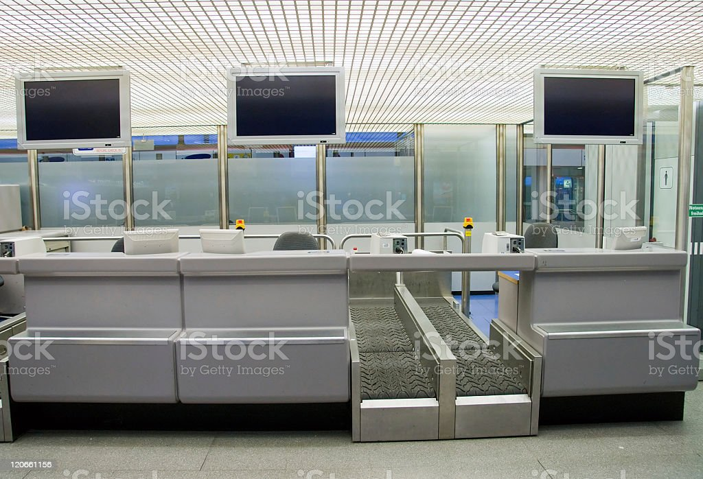 Check in counter at the airport stock photo