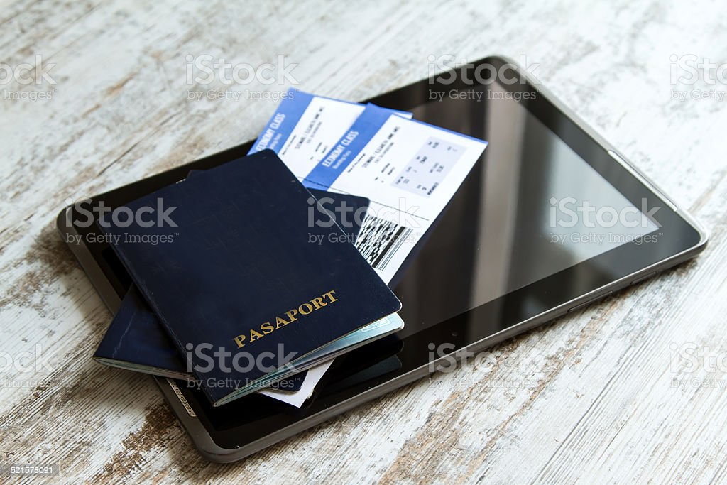 Check in on line stock photo
