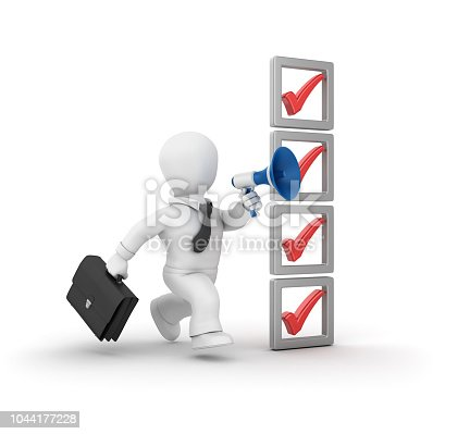 537516368 istock photo 3D Check List and Business Character Running with Megaphone - 3D Rendering 1044177228