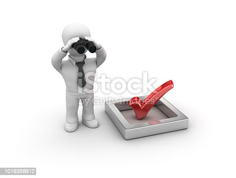 istock 3D Check List and Business Character with Binoculars - 3D Rendering 1019358912