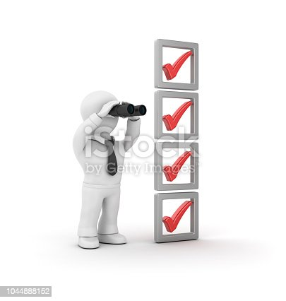 3D Check List and Business Character with Binoculars - White Background - 3D Rendering