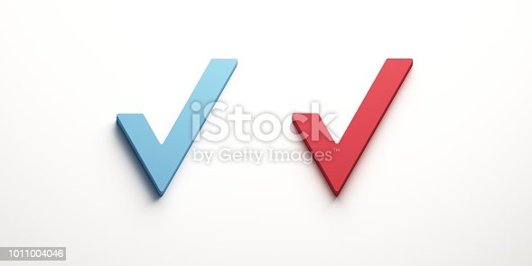 istock Check list buttons. Two Check marks sign. 3D Render illustration 1011004046