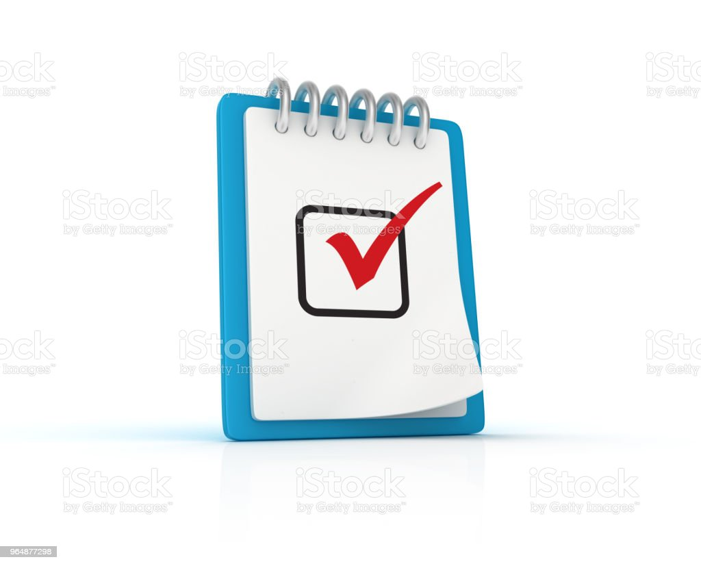 Check List Clipboard with Check Mark - 3D Rendering royalty-free stock photo