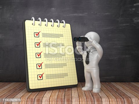 537516368 istock photo Check List Note Pad and Business Character with Binoculars on Chalkboard Background  - 3D Rendering 1140392975