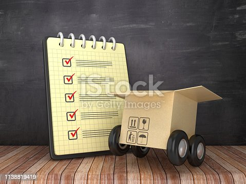 istock Check List Note Pad and Cardboard Box with Wheels on Chalkboard Background  - 3D Rendering 1138819419