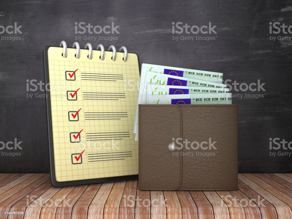 Check List Note Pad and Wallet with Euro Bills on Chalkboard...