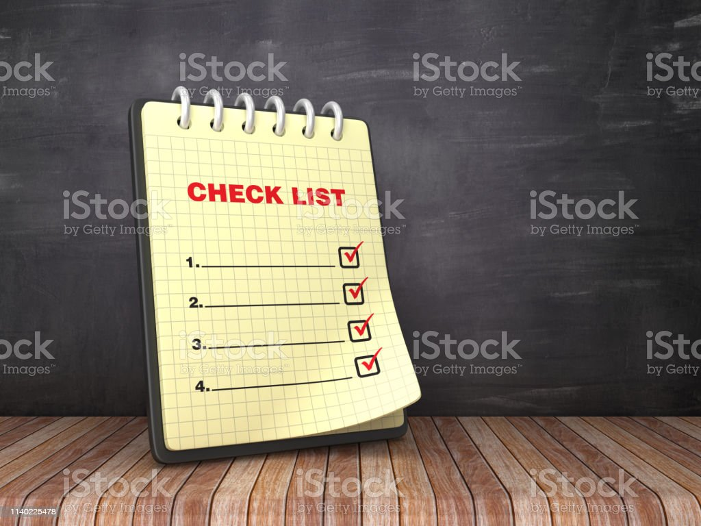 Check List Note Pad on Chalkboard Background - 3D Rendering
