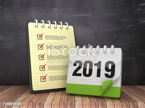 1073023470 istock photo Check List Note Pad with 2019 Calendar on Chalkboard Background  - 3D Rendering 1138814135