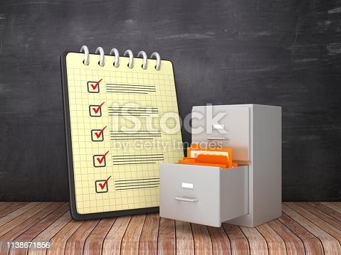Check List Note Pad with Archives on Chalkboard Background  - 3D Rendering