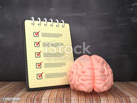 Check List Note Pad with Brain on Chalkboard Background  - 3D Rendering