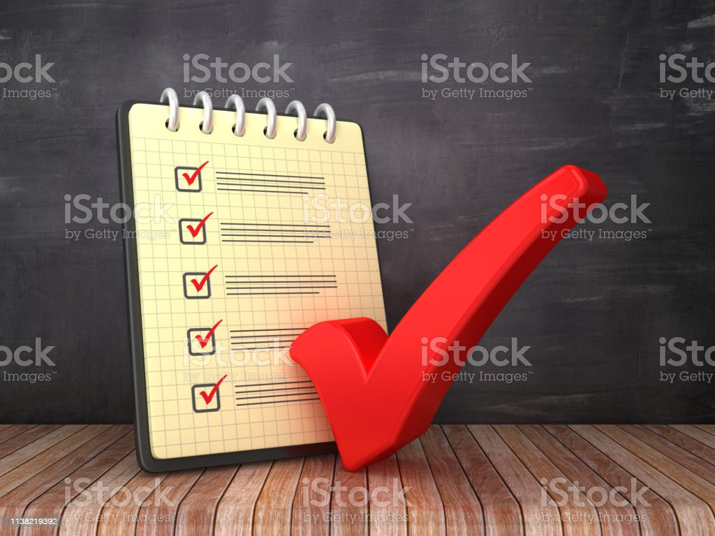 Check List Note Pad with Check Mark on Chalkboard Background - 3D...