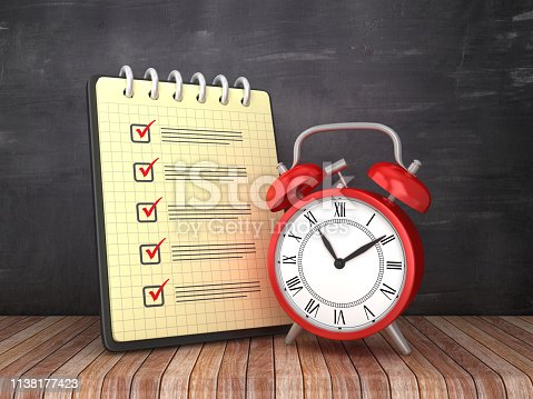 Check List Note Pad with Clock on Chalkboard Background  - 3D Rendering