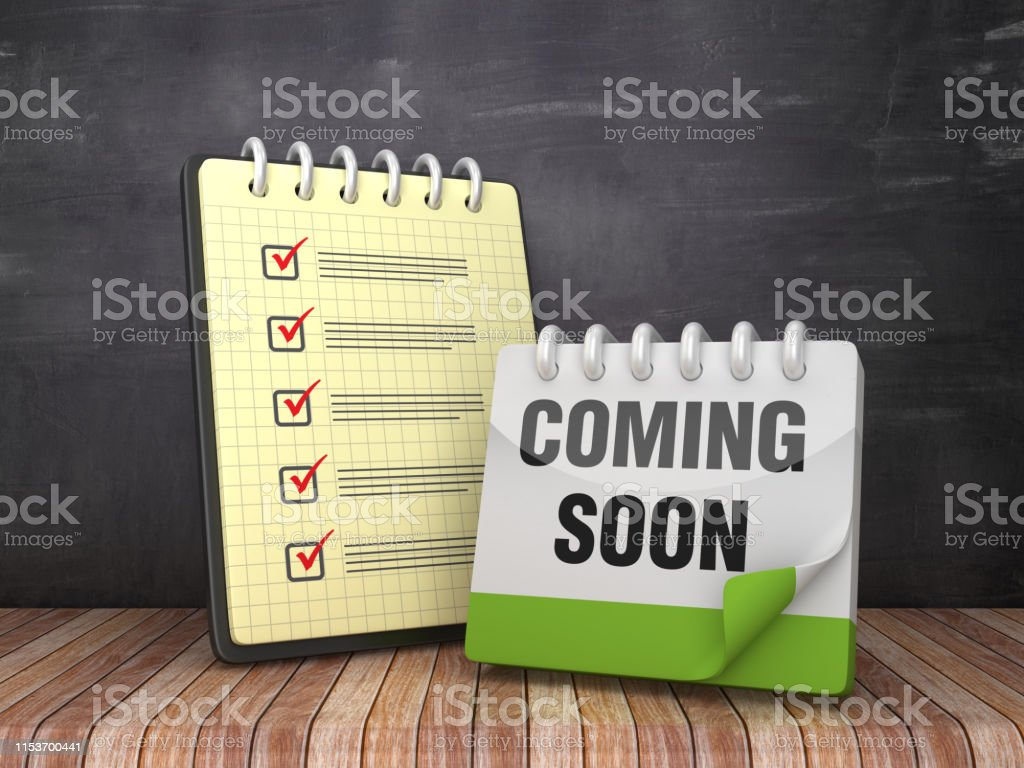 Check List Note Pad with COMING SOON Calendar on Chalkboard...