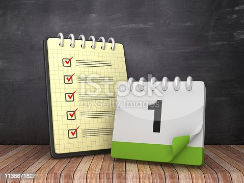 istock Check List Note Pad with Day 1 Deadline on Chalkboard Background  - 3D Rendering 1138671827