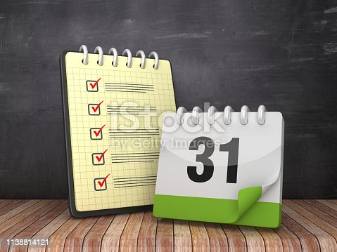 1073023470istockphoto Check List Note Pad with Day 31 Calendar on Chalkboard Background  - 3D Rendering 1138814121