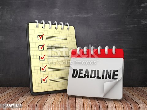 1186985932 istock photo Check List Note Pad with Deadline Calendar on Chalkboard Background  - 3D Rendering 1138671815