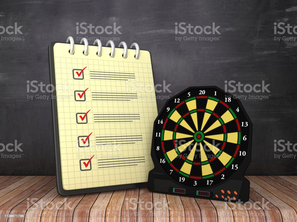 Check List Note Pad with Electronic Dartboard on Chalkboard...