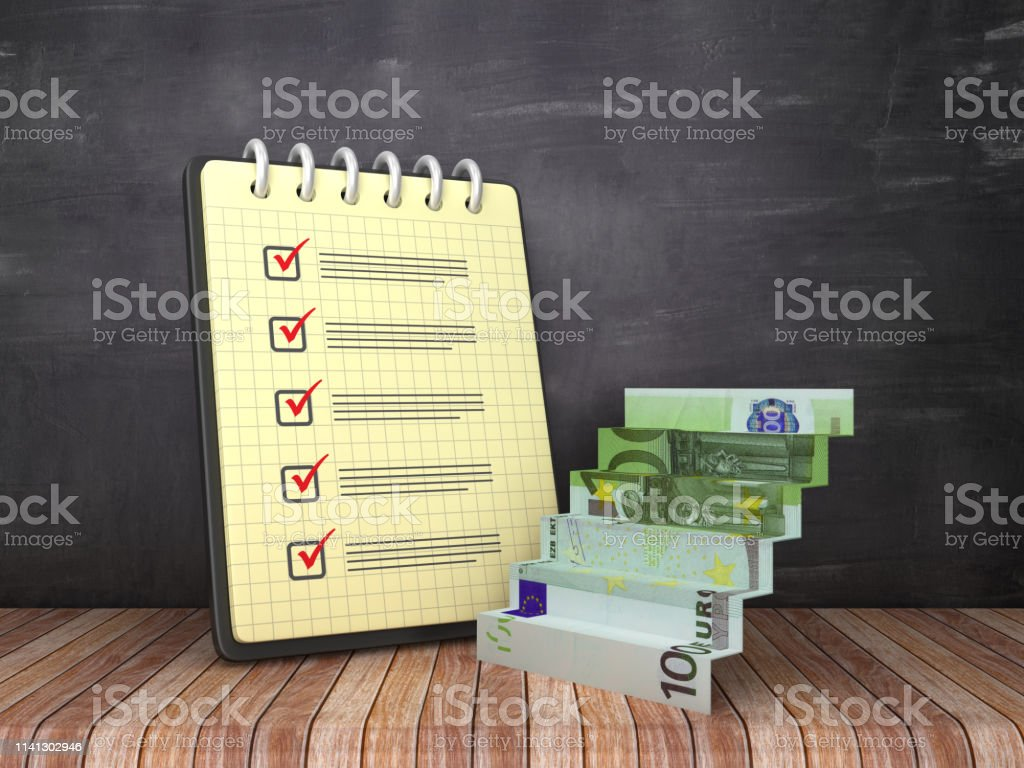 Check List Note Pad with Euro Bill Star on Chalkboard Background - 3D...