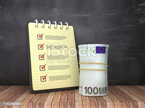 Check List Note Pad with Euro Money Roll on Chalkboard Background  - 3D Rendering