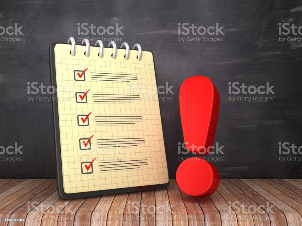 Check List Note Pad with Exclamation Point on Chalkboard Background -...