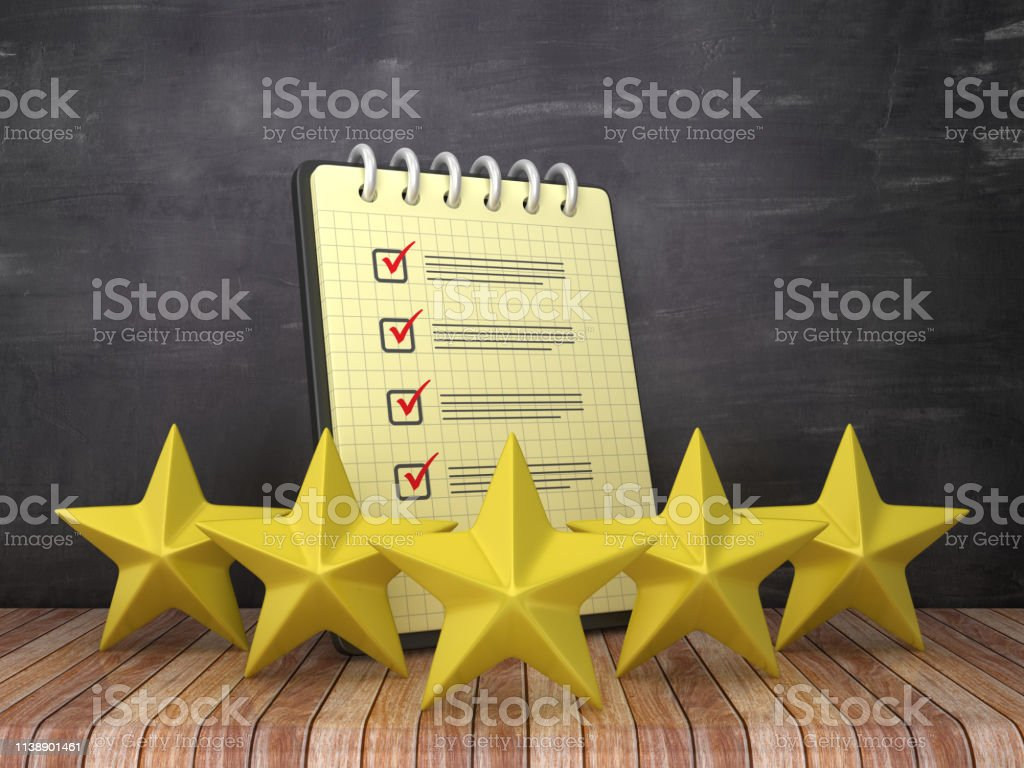 Check List Note Pad with Five Stars on Chalkboard Background - 3D...