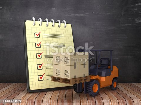 istock Check List Note Pad with Forklift Truck on Chalkboard Background  - 3D Rendering 1140392878