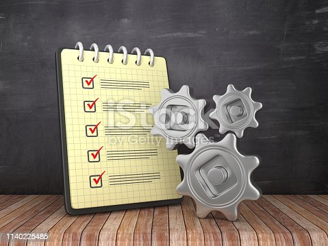 537516368 istock photo Check List Note Pad with Gears on Chalkboard Background  - 3D Rendering 1140225485