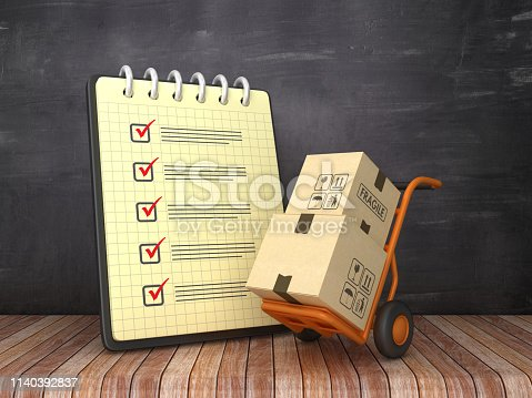 537516368 istock photo Check List Note Pad with Hand Truck on Chalkboard Background  - 3D Rendering 1140392837