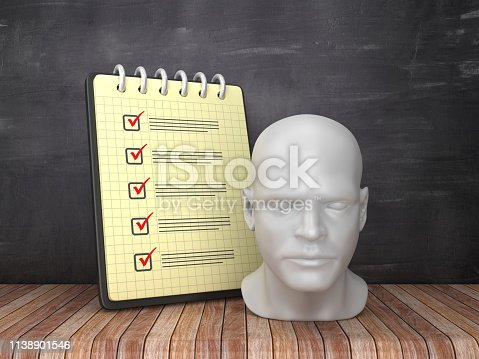 Check List Note Pad with Human Head on Chalkboard Background  - 3D Rendering