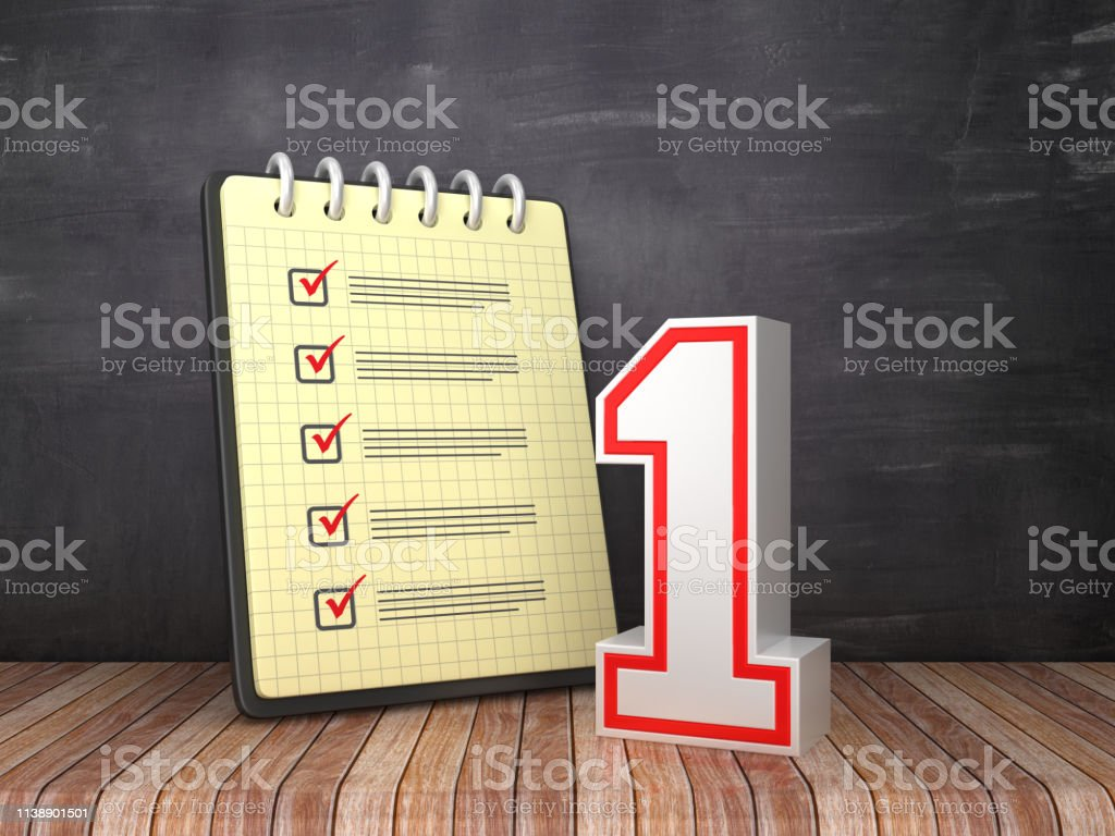 Check List Note Pad with Number One on Chalkboard Background - 3D...