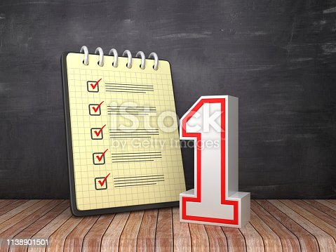Check List Note Pad with Number One on Chalkboard Background  - 3D Rendering
