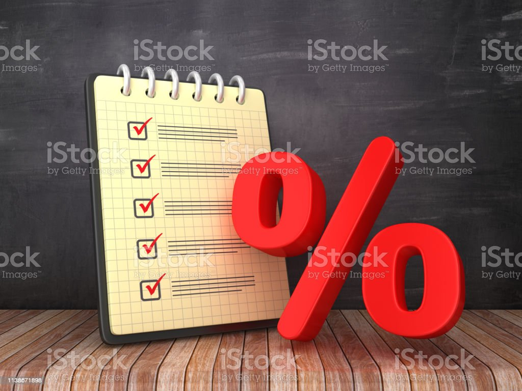 Check List Note Pad with Percentage Symbol on Chalkboard Background -...