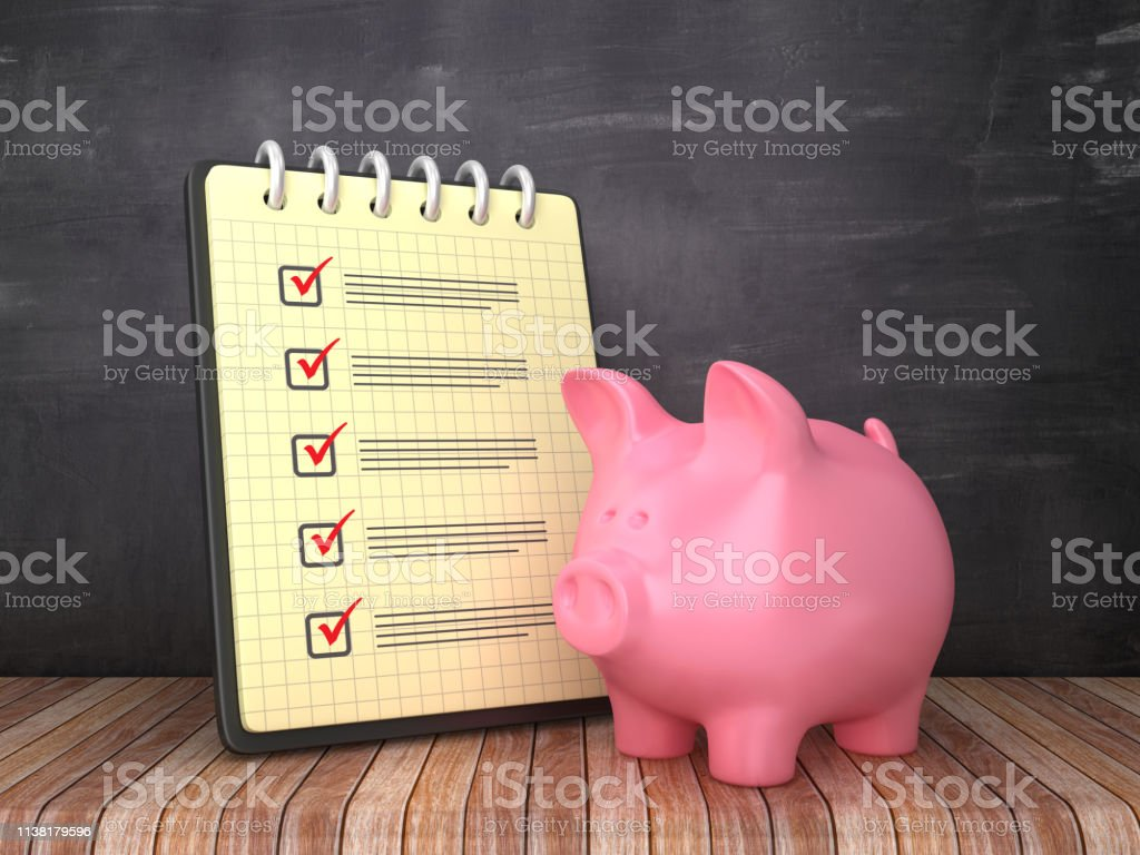 Check List Note Pad with Piggy Bank on Chalkboard Background - 3D...