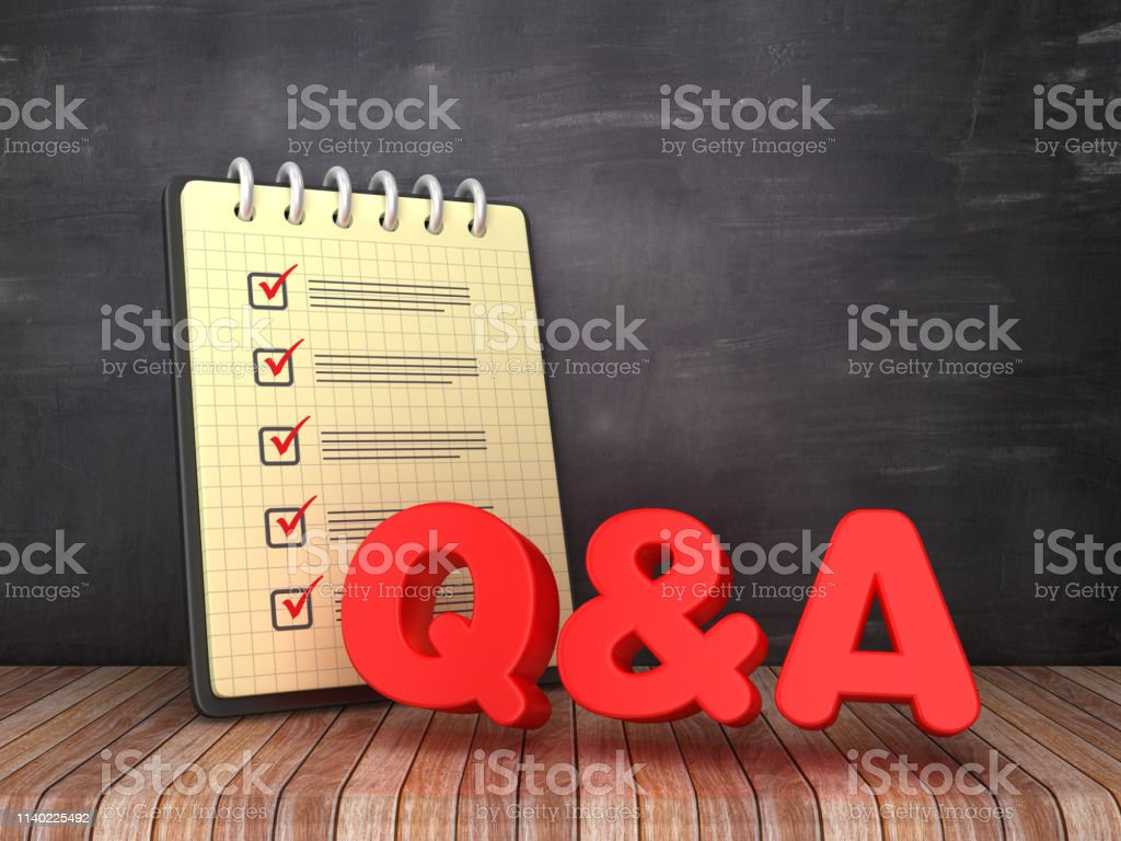 Check List Note Pad with Q&A on Chalkboard Background - 3D Rendering